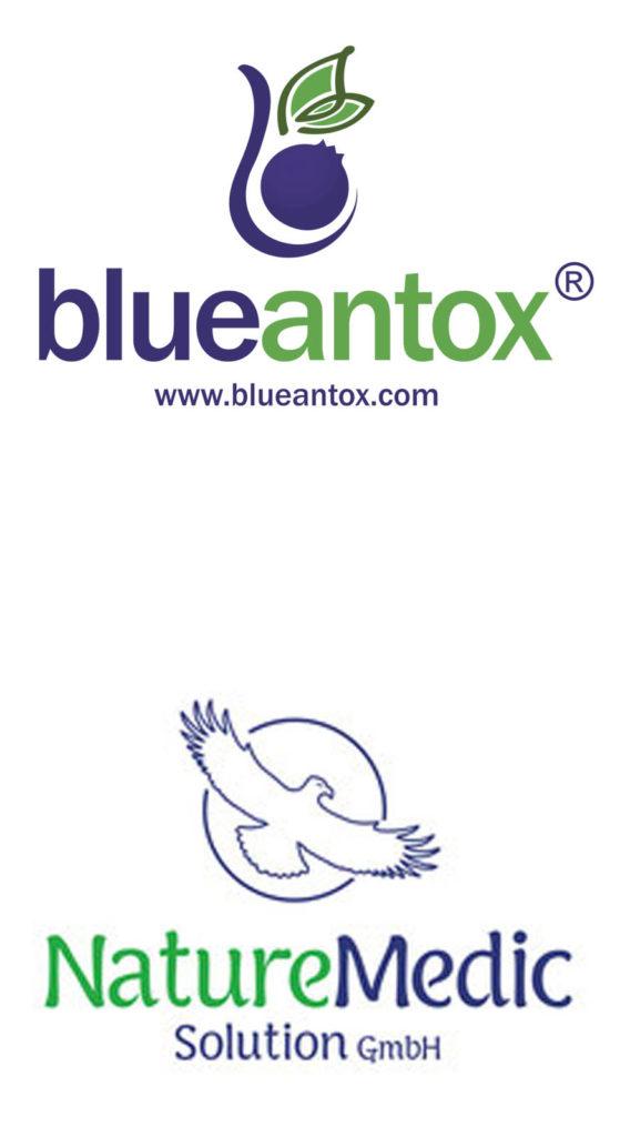Logos von BlueAntox und Naturemedicsolution