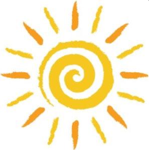 Illustration gelbe Sonne aus Kreisel