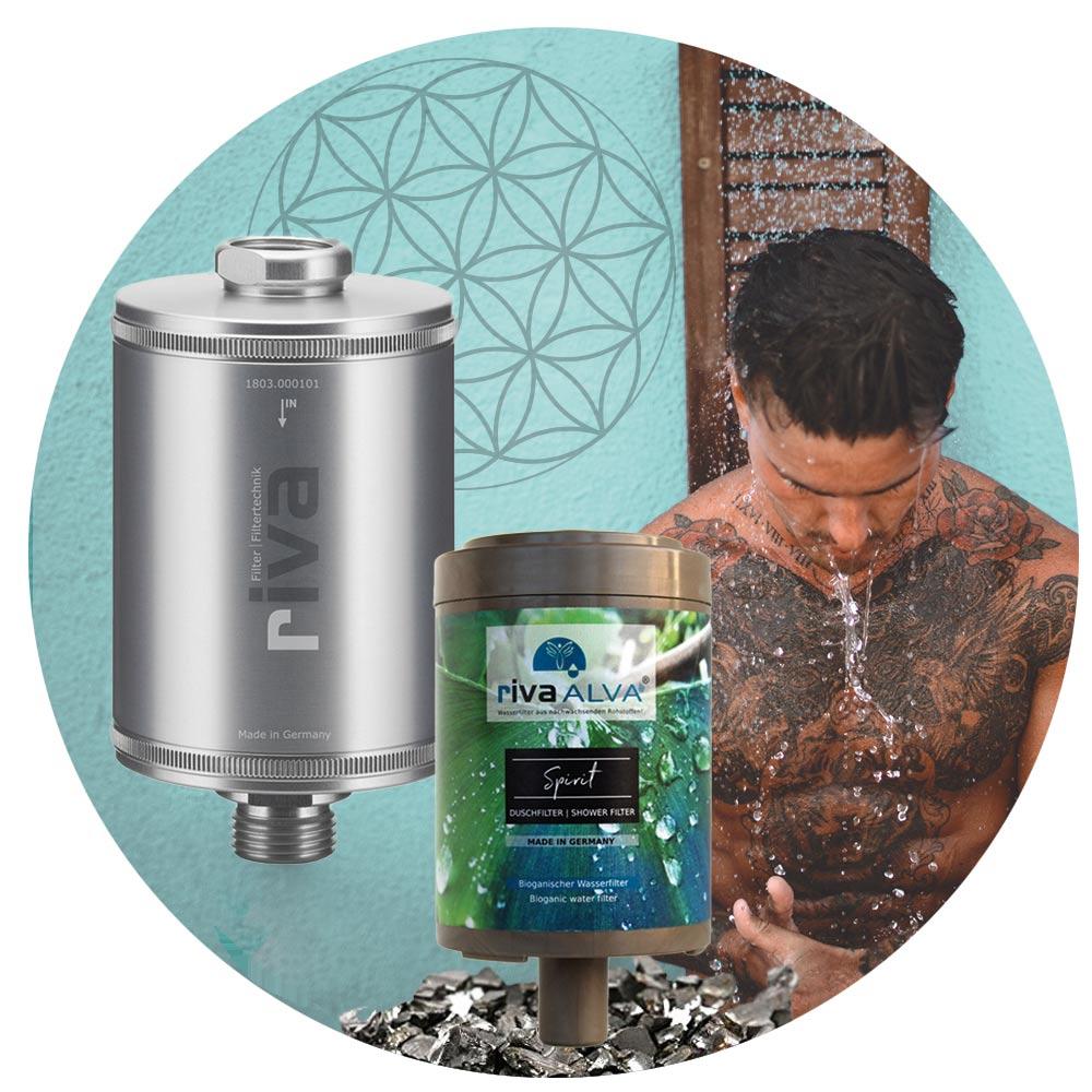 rivaALVA Duschfilter SPIRIT | Filter-Set mit VARIO Metall-Gehäuse und bioganischer Filterkartusche