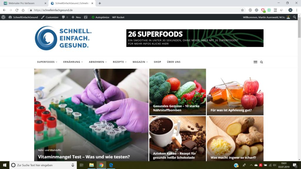 Screenshot vom Online-Gesundheitsmagazin SchnellEinfachGesund.