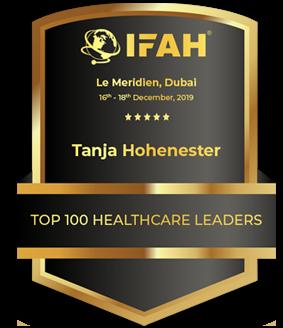Emblem der IFAH-Auszeichnung Top 100 Healthcare Leaders für Tanja Hohenester