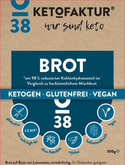 Etikettierung des Keto-Brot Nr. 38 der KETOFAKTUR