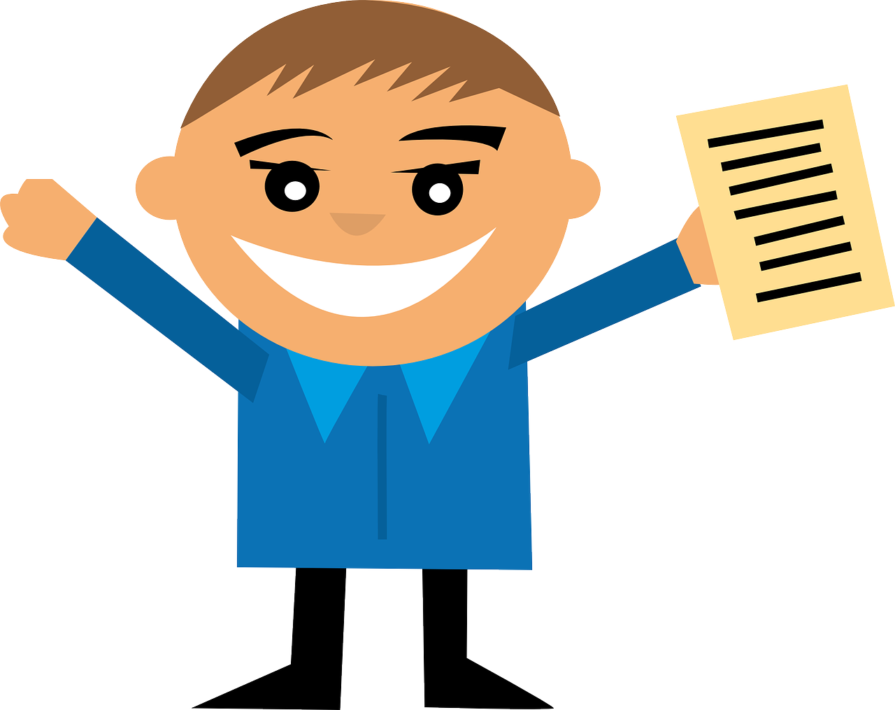 Illustration: Mensch mit Prüfungsurkunde