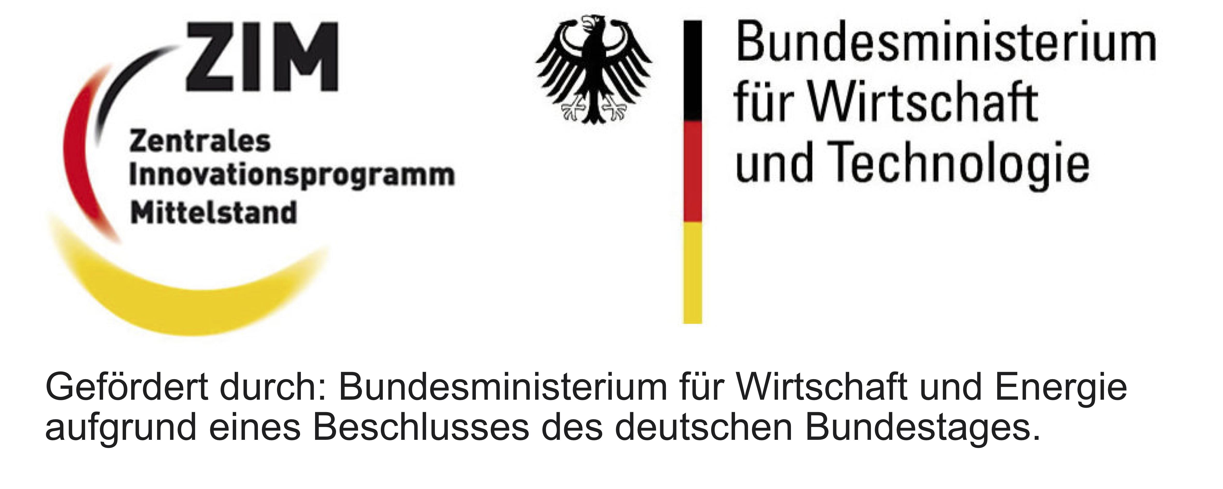 Logo: ZIM – Zentrales Innovationsprogramm Mittelstand des Bundesministeriums für Wirtschaft und Technologie, Energie