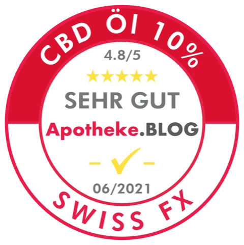 Siegel: apotheke.blog: CBD-Öl 10%: Sehr gut * Swiss FX
